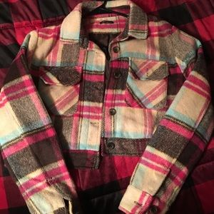 Wild fable cropped flannel coat size S.